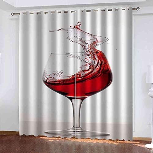 ESMTKDD 3D Cortinas Opacas Fashion Red Wine Glass Dormitorio Infantil Cortinas Opacas Cortinas 245X275Cm Reduccion Ruido Proteccion Intimidad Cortina Cortinas Térmicas Aislantes Moderna Decoración