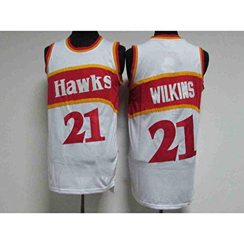 Z/A Basketball Jersey-Atlanta Hawks No.21 Wilkins Retro Version Jersey, Basketball Training, Fast Feuchtigkeitsaufnahme, Uniformen, Männer Und Frauen Trikots,XL