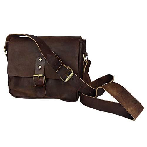 """Leder-Tasche """"Noura"""" 20x23cm in Dunkelbraun • marokkanische Umhängetasche • elegant & klassisch • 100% Handarbeit und Rindsleder • mit verstellbarem Schultergurt + 5 Fächer • Simandra"""