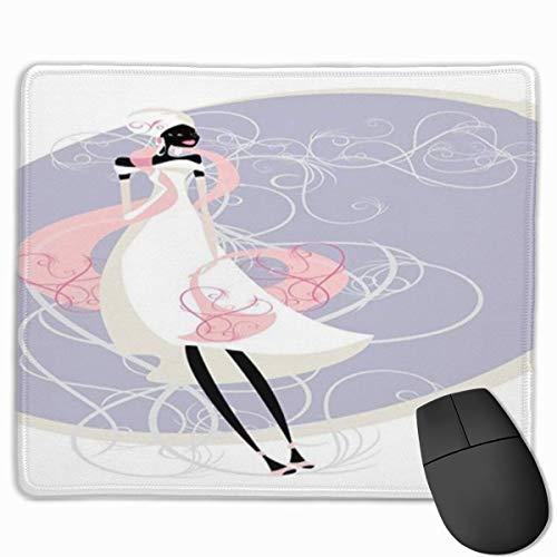 Nettes Gaming-Mauspad, Schreibtisch-Mauspad, kleine Mauspads für Laptop-Computer, Mausmattenhochzeits-junge Frauen-Silhouette im Hochzeitskleid auf gewirbeltem Hintergrundlavender hellrosa Elfenbein
