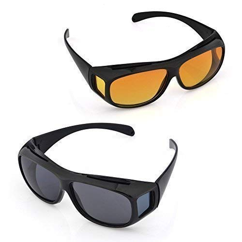 BLUMORA Day and Night HD Vision Men's and Women's Driving Glasses Sunglasses (Yellow and Black, Standard) - Combo Pack Set of 2