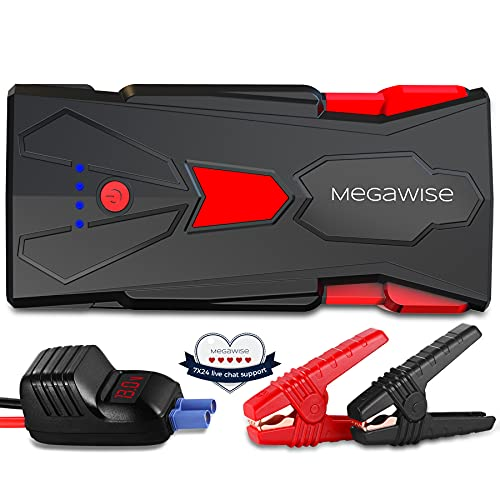 MEGAWISE 1500A Peak 16800mAh Car Jump Starter (Up to 7L Gas or 5L Diesel Engine), 12V Portable Power Pack Auto Battery Booster with Dual USB Outputs [2021 Upgrade Model]