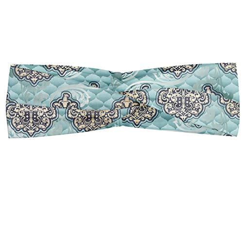 ABAKUHAUS Victoriaans Hoofdband, Rococo tijd perk ontwerpen, Elastische en Zachte Bandana voor Dames, voor Sport en Dagelijks Gebruik, Pale Blue Ivory