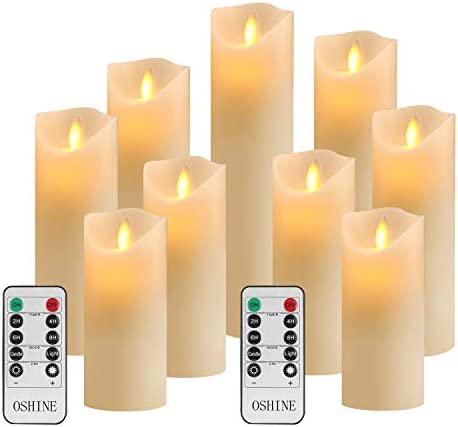 OSHINE Flameless Candles Set of 9 Ivory Dripless Real Wax Pillars Include Realistic Moving Wick product image