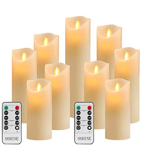 OSHINE Flameless Candles Set of 9 Ivory Dripless Real Wax Pillars Include Realistic Moving Wick LED Flames and 10-Key Remote Control with 24-Hour Timer Function 300+ Hours
