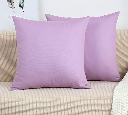 TangDepot Cotton Solid Throw Pillow Covers, 18' x 18' , Light Purple Lavende