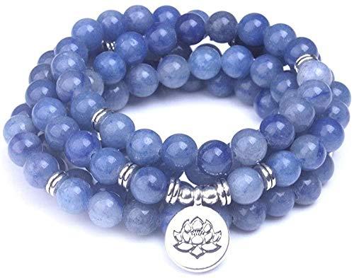 DUEJJH Co.,ltd Collar de Cuentas de Piedra de aventurina Azul Liso 108 Pulseras de Mala Piedra Natural con Loto Buda Om encantos Mujeres Hombres joyería de meditación