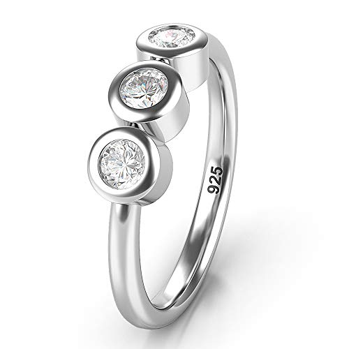 Metal Factory Sz 8.0 Solid Sterling Silver 3 CZ Past Present Future Wedding Engagement Ring