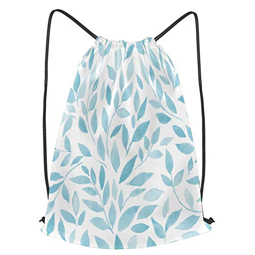 Multifunction Drawstring Bag,bush watercolor branches leaves seamless pattern,Lightweight Sport Gym Sackpack for Hiking Yoga Gym Swimming Travel Leisure Hiking Backpack