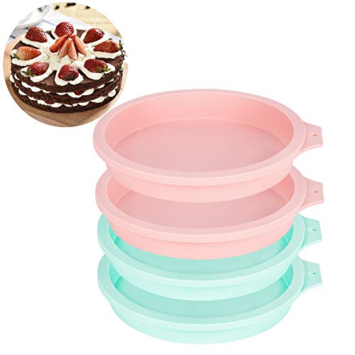6-Inch Silicone Round Cake Pan Baking Mold, Baking Mold DIY Rainbow Cakes, Non-Stick Silicone, Pack of 4