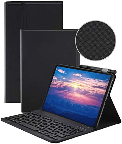 Keyboard Case for Samsung Galaxy Tab S6 Lite 10.4 Inch Tablet 2020 (SM-P610/ SM-P615) with S Pen Holder, Slim Stand PU Leather Cover with Detachable Wireless Bluetooth Keyboard (Black)
