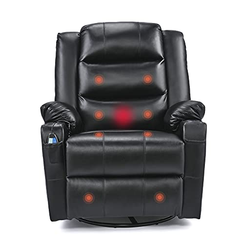 VONLUCE Leather Massaging Recliner Chair, 360 Swivel Heated Reclining Chair with Footrest 8 Massage Nodes 2 Cup Holders Wide Pocket, Ergonomic Lounge Chair for Living Room Bedroom Office More, Black