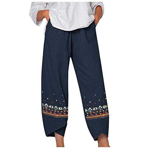 Frauen Casual Mid Waist Fish Print Baumwolle Loose Long Straight Pants,Damen Sommer Große Größen Leinen Hose Druck Freizeithose mit Taschen Frauen Hosen Jogginghose Haremshosen (4-Marine:XL)