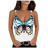 Liably Camiseta de tirantes para mujer, diseño de mariposas, estilo informal, para verano Blanco XXL