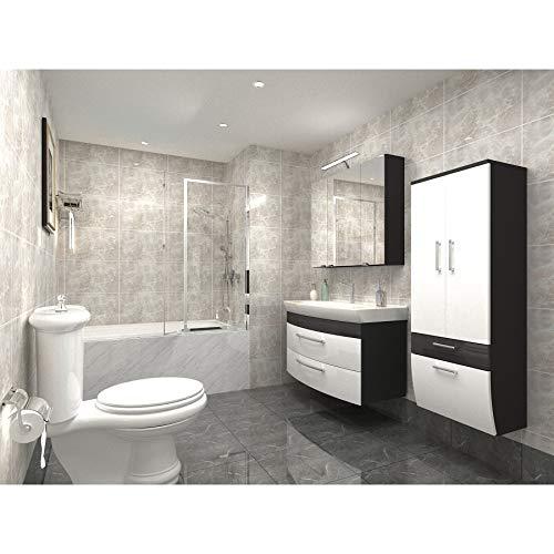badmöbelset Badezimmer Hochgl. weiß/Anthrazit mit großen Waschplatz inklusive Mineralgussbecken Spiegelschrank und großen Hochschrank