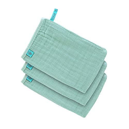 LÄSSIG Muslin Waschhandschuh Waschlappen Baumwolle 3er Set/Wash Glove mint