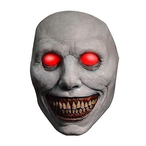 Zoungh Máscara de sonrisa con ojos brillantes LED Máscara de Halloween de miedo...