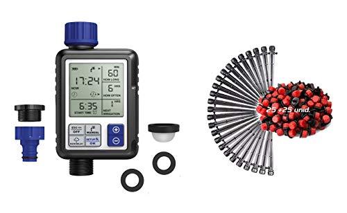 Aqua Control C4110 Digital de Riego con Pantalla Programador Full Vision 2 + KITG002 Pack Básico de Accesorios de 4 mm para Todo Tipo de riego por Goteo Gota, Negro