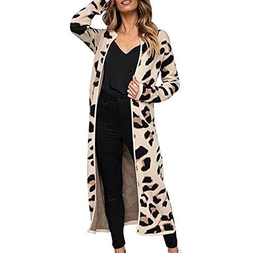 SALUCIA Damen Leopard Aufdruck Lang Strick Cardigan Jacke Mantel Herbst Winter Mode Langarm Vorne Offene Longjacke Übergangsjacke Windbreaker Coat Jacket Outwear