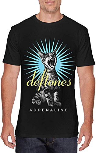 Grabe A Grape Men's Classic Deftones Band Adrenaline Cat Graphic-Printing Graphic-Printing T-Shirt Breathable Black M