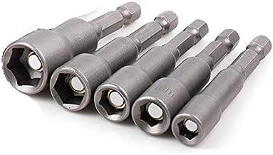 5 piezas. Juego de llaves de vaso para taladro (6 mm, 8 mm, 10 mm, 12 mm, 13 mm, para tuercas con punta, ideal para máquinas de batería o taladros)