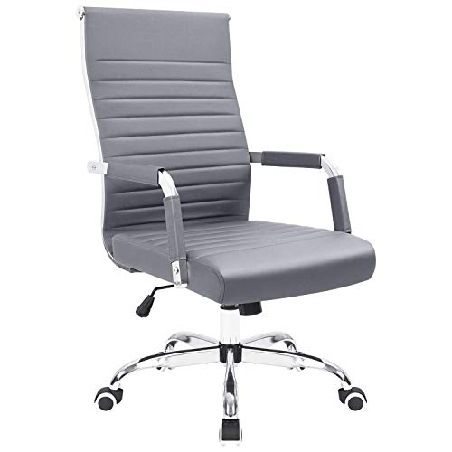 KaiMeng Ribbed Office Desk Mid Back Computer Chair Height Adjustable Conference Executive Task Swivel PU Leather (Grey)