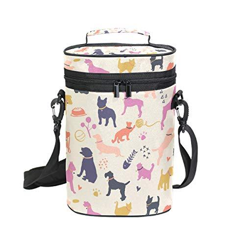 FANTAZIO Hunde- und Katzen-Silhouetten buntes Muster, isoliert, auslaufsicher, gepolstert, für 2 Flaschen, Wein-Transporttasche, Tragetasche für Reisen, Camping und Picknick