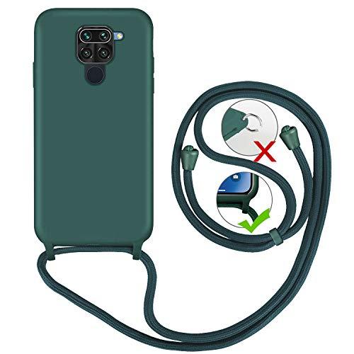 GoodcAcy Custodia con Collana Compatibile con Xiaomi Redmi Note 9,Cover Silicone Liquido con Cordino Collana Tracolla Case per Xiaomi Redmi Note 9, Verde