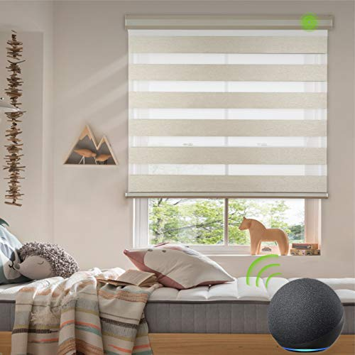 Yoolax Motorized Zebra Blinds Works with Alexa, Light Filtering Day and Night Dual Layer Sheer Blinds Customized Size, Privacy Light Control Horizontal Window Blind for Home Office (Luxury Coffee)