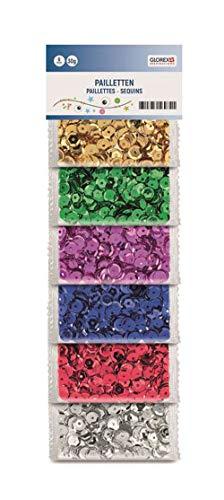 Glorex 6 1630 181 - Pailetten Mix, 30 g bunt und glänzend, sortiert in 6 leuchtkräftigen Farben, ideal zum Basteln, Verzieren und Aufnähen auf Textilien