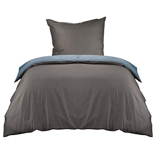 KEAYOO Bettwäsche 135x200 Anthrazit und grau Wendebettwäsche 100% Baumwolle mit Reißverschluss 2 teilig Set