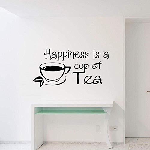 Muurstickers 28X57Cm Geluk is een kopje thee muur Decal Decoratie Verplaatsbare Wanddecoratie Office Kinderkamer DIY PVC Slaapkamer