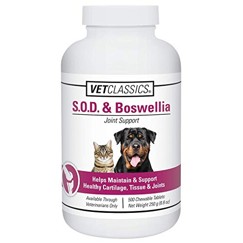 Vet Classics S.O.D. & Boswellia Joint Support Supplement for Dogs, Cats – Dog Hip & Cat Joint Supplement – Alleviates Aches, Discomfort– for Flexibility, Healthy Joint Function - 500 Chewable Tablets