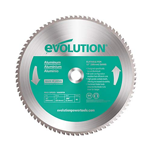 Evolution Power Tools 12BLADEAL Aluminum Cutting Saw Blade, 12-Inch x 80-Tooth, Green