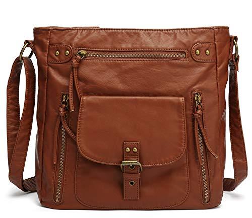 Scarleton Medium Crossbody Shoulder Bag for Women, Ultra Soft Washed Vegan Leather, Brown, H200504A