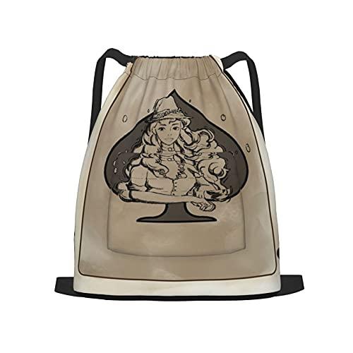 BohoMonos Mochila deportiva con cordón,Diseño de cartas de póquer Icono del juego Ar, Gym Sackpack para Hombres Mujeres Niños Yoga Travel Camping String Bag.