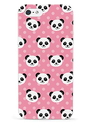 Inspired Cases - 3D Textured iPhone 5/5s/5SE Case - Rubber Bumper Cover - Protective Phone Case for Apple iPhone 5/5s/5SE - Cute Panda Pattern - Pink Polka Dots