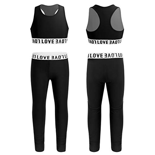 Agoky Kids Girls Two-Piece Gymnastics Tracksuit Dance Outfit Sleeveless Workout Tanks Crop Top with Leggings Set Black 7-8
