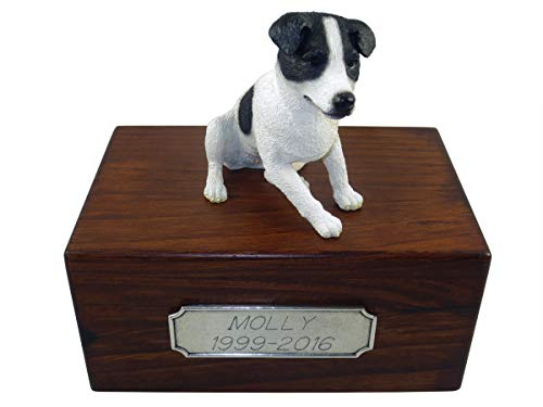 Conversation Concepts Beautiful Paulownia Small Wooden Urn with Smooth Coat Black & White Jack Russell Figurine & Personalized Pewter Engraving