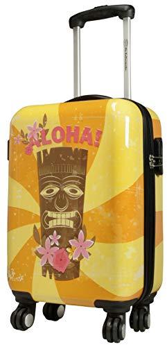 Trendyshop365 Handgepäckkoffer Motiv Hawaii Aloha Maske 54 cm 25 Liter 4 Räder Bunt Zahlenschloss