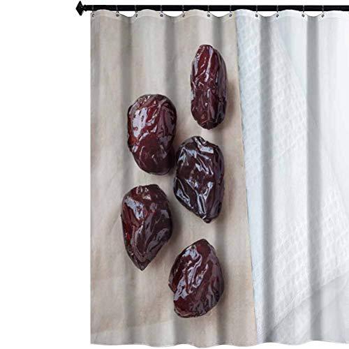 Aishare Store Prinetd Bathroom Curtains, Dried Prune on Paper Bag, Waterproof Fabric Bathroom Shower Curtain, 72