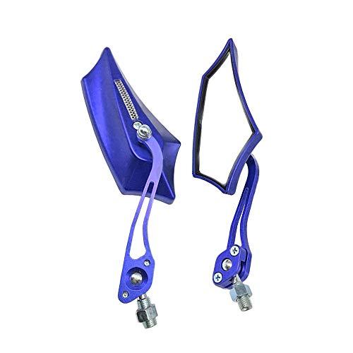 Mintice bleu Universel rétroviseur latéral de moto miroir scooter 8 / 10mm bicyclette