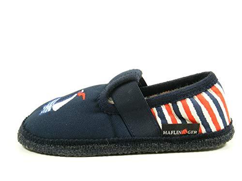 HAFLINGER 629073 Slipper Delphin Schuhe Jungen Kinder Hausschuhe, Größe:23 EU, Farbe:Blau