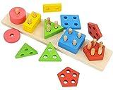 AUEDC Puzzle di Legno Blocchi di Blocchi Giocattolo educativo prescolare Giocattoli per Bambini Forma Riconoscimento del Colore Scheda Geometrica per Ragazze dei Ragazzi