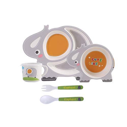 BAP Free 5-teiliges Bambus-Geschirr-Set für Kinder, Geschirr-Set beinhaltet Kinder-Bambus-Teller, Kleinkind-Besteck, Bambus-Schüssel und Kinder-Tasse und spülmaschinenfest (Elefant)