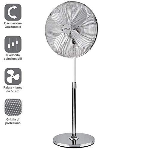 Bakaji Ventilatore a Colonna Piantana Acciaio Inox Potenza 60W Diametro Pale 50cm 3 Velocità Selezionabili Altezza regolabile Oscillazione Orizzontale Colore Silver (Pale 50 cm)