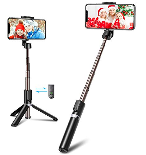 Bovon Bastone Selfie, Mini Estensibile 3 in 1 Selfie Stick Treppiede Smartphone con Telecomando Wireless Compatibile con iPhone 12 Mini, 12 PRO, 11 PRO Max, 11 PRO, XS Max, Galaxy S20 Plus, S10, ECC