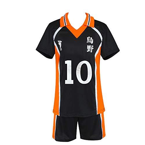 BellaPunk Herren Erwachsene Anime Haikyuu Cosplay Trikot Karasuno High School Volleyball Sportswear Kostüm (L, Karasuno 10)