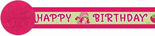 amscan Pretty Strawberry Shortcake Birthday Party Crepe Streamer Decoration (1 Piece), 30', Pink/Green