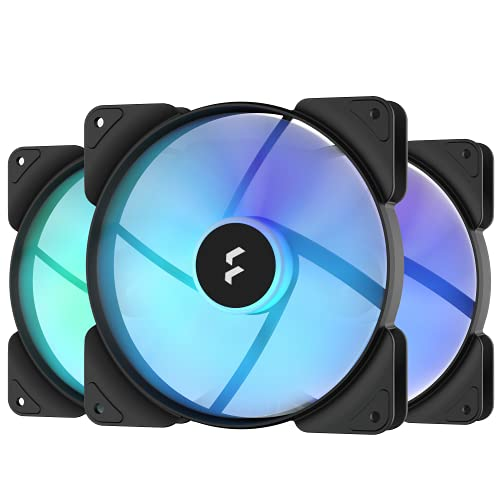 Fractal Design Aspect 14 RGB 140 mm PWM Wide 500-1700 RPM Range Black Frame 3-Pack Computer Fan